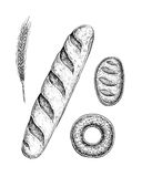 Black and white hand drawn sketches of pastry baked goods Royalty Free Stock Photo