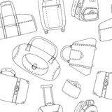 Black and white hand drawn travel bags seamless pattern, vector Royalty Free Stock Images