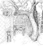 Black and white hand drawn vector sketch with cute outdoor territory. Royalty Free Stock Image