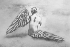 Winged person. Black and white hand drawn winged person stock photos