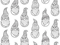 Black and white hand drawn winter gnomes seamless pattern Royalty Free Stock Image