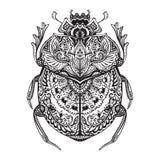 Black and white hand drawn zentangle stylized scarab. Stock Photo