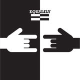 Black and White hand with equality concept. Royalty Free Stock Images