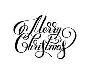 Black and white hand lettering inscription Merry Christmas, arti. Stic written for greeting card, poster, print, web design and other decoration, handmade Stock Photo