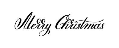Black and white hand lettering inscription Merry Christmas, arti. Stic written for greeting card, poster, print, web design and other decoration, handmade Royalty Free Stock Photography