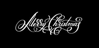 Black and white hand lettering inscription Merry Christmas. Artistic written for greeting card, poster, print, web design and other decoration, handmade Royalty Free Stock Photo
