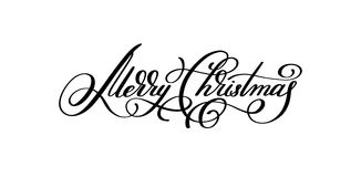 Black and white hand lettering inscription Merry Christmas. Artistic written for greeting card, poster, print, web design and other decoration, handmade Royalty Free Stock Photos