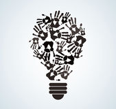 Black and white hand print in lightbulb shape , symbol of thinking concept. EPS10 Stock Photo