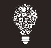 Black and white hand print in lightbulb shape , symbol of thinking concept. EPS10 Stock Images