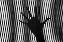 Hands silhouette behind a grid royalty free stock photo