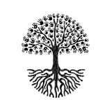Black and white hand tree illustration isolated Royalty Free Stock Photo