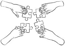 Black and white hands with puzzles teamwork. Human hands holding pieces of puzzle black and white vector illustration Stock Image
