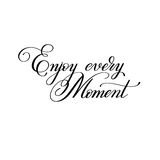 Black and white handwriting lettering inscription Enjoy every mo stock illustration