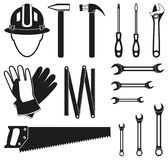Black and white 15 handyman tools silhouette set. Simple toolkit for home repair. Construction themed vector illustration for icon, sticker, patch, label, sign vector illustration