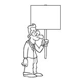 Black and white happy business man with sign Stock Photo