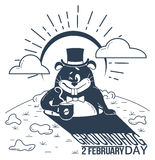 Black and white happy groundhog day. Black and white illustration. Holiday - happy groundhog day. Icon in the linear style. Retro vector illustration