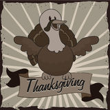 Black and White Happy Turkey on Thanksgiving Poster, Vector Illustration Stock Images