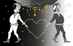 Black and white Harlequins holding a heart. Against a starry sky Royalty Free Stock Photo