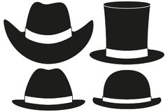 Black and white hat silhouette set 4 element vector illustration