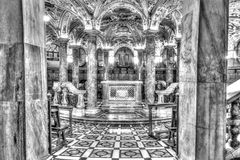 Black and white HDR photo Interior of the famous Cathedral Duomo di Milano on piazza in Milan Stock Photo