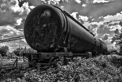 Black and white hdr railroad tank1 Royalty Free Stock Image
