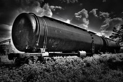 Black and white hdr railroad tank Stock Image