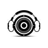 Black and white headphone and speaker Stock Photos