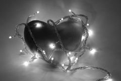 Black and white heart. A velvet heart in black and white Stock Image