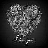 Black and white heart decorated by flowers peony. I love you. Stock Photos