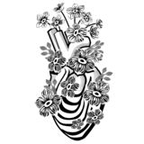 Black and white heart and flowers isolated on white background.  royalty free illustration