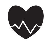 Black and white heart pulse, heartbeat icon vector  white background. Royalty Free Stock Photo