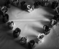 Black and White Heart of Roses Stock Photo