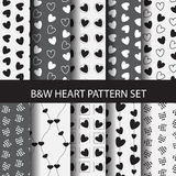 Black and white heart seamless pattern. 8 different black and white heart vector  patterns set. Endless texture can be used for wallpaper, pattern fills, web Stock Image