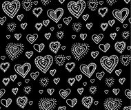 Black and white heart seamless pattern Stock Photography