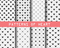 Black and white heart seamless patterns Royalty Free Stock Images