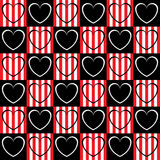 Black and white heart in the squares. The squares in a checkerboard pattern of black and striped Royalty Free Illustration