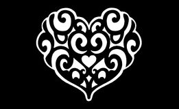 Black and white heart symbol floral design Royalty Free Stock Image