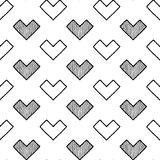Black White Heart Pattern. Black White Heart Vector Illustration Hand Drawn Pattern Cartoon Art Stock Photography