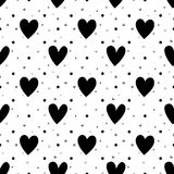 Black and white hearts seamless pattern Stock Photo