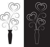 Black and White Hearts. In black and white vase on black or white background, hearts arrangement, hearts card, valentine hearts Stock Photo