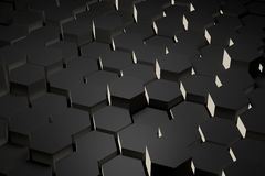 Black and white hexagon tile Stock Image