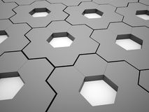 Black and white hexagonal gears background Stock Images
