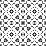 Black on white club and circle seamless repeat pattern background royalty free illustration