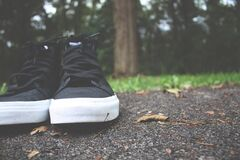 Black and White High Top Sneakers Stock Images