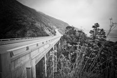 Black and White Highway 1. Black and white shot of highway one roadside Stock Photo