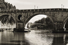 Black and White of historic bridges Stock Photography