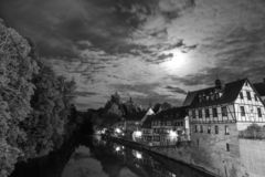 Black and White of historic german buildings and river royalty free stock photography