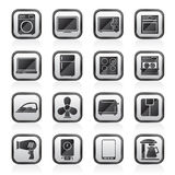 Black an white home appliance icons Royalty Free Stock Images