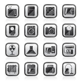 Black an white home appliances and electronics icons. Vector icon set royalty free illustration