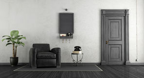 Black and white home entrance Stock Photo